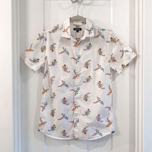 Express Parrot Button Down Top White Size Small